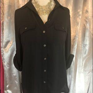 NWT Ann Taylor Black Button Up Blouse